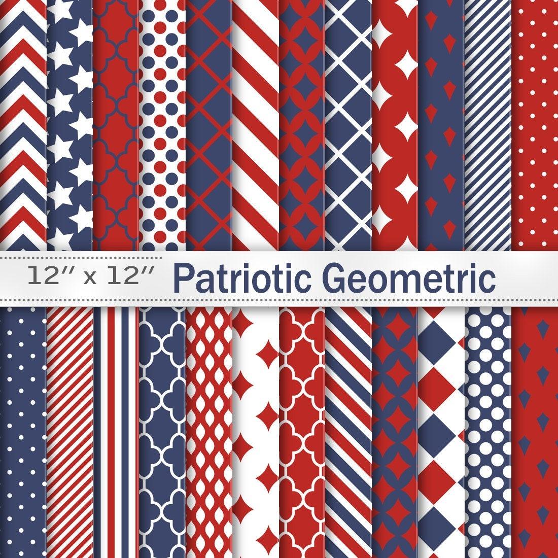 Patriotic 4Th Of July Digital Scrapbook Papers Red Navy | Etsy - Free Printable Patriotic Scrapbook Paper