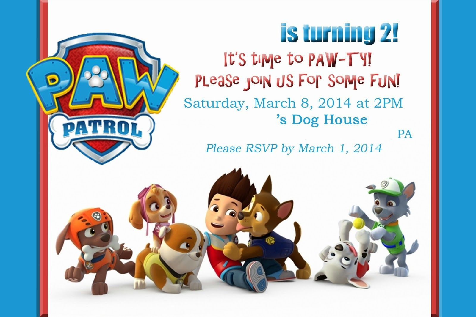 Paw Patrol Party! This Site Has Tons Of Ideas And Free Pintable's Or - Free Printable Paw Patrol Invitations