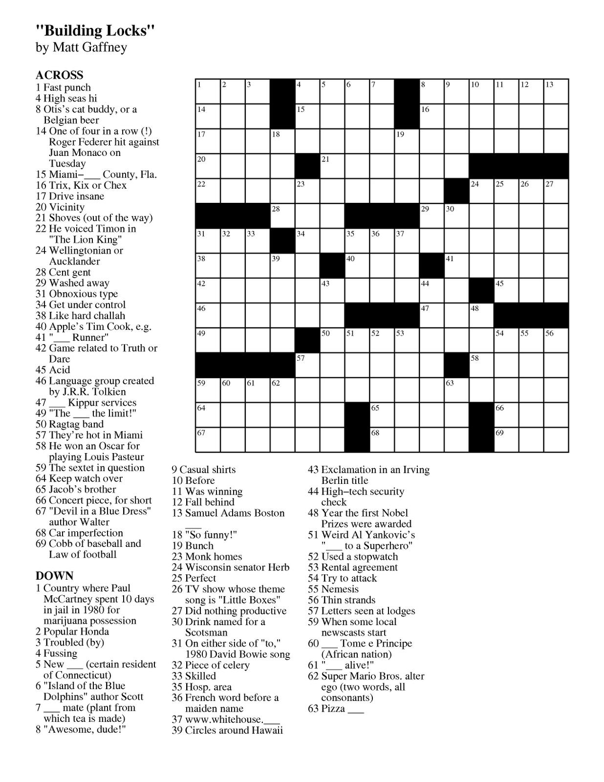 Pdf Easy Latin Crossword Puzzles - Free Daily Online Printable Crossword Puzzles
