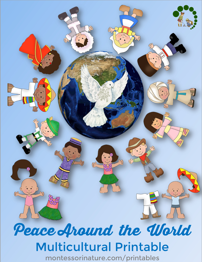 Peace Around The World - Multicultural Printable - Free Printable Multicultural Posters