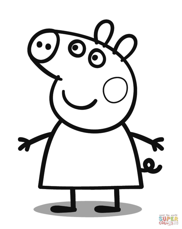 Peppa Pig Coloring Page   Free Printable Coloring Pages - Pig Coloring Sheets Free Printable