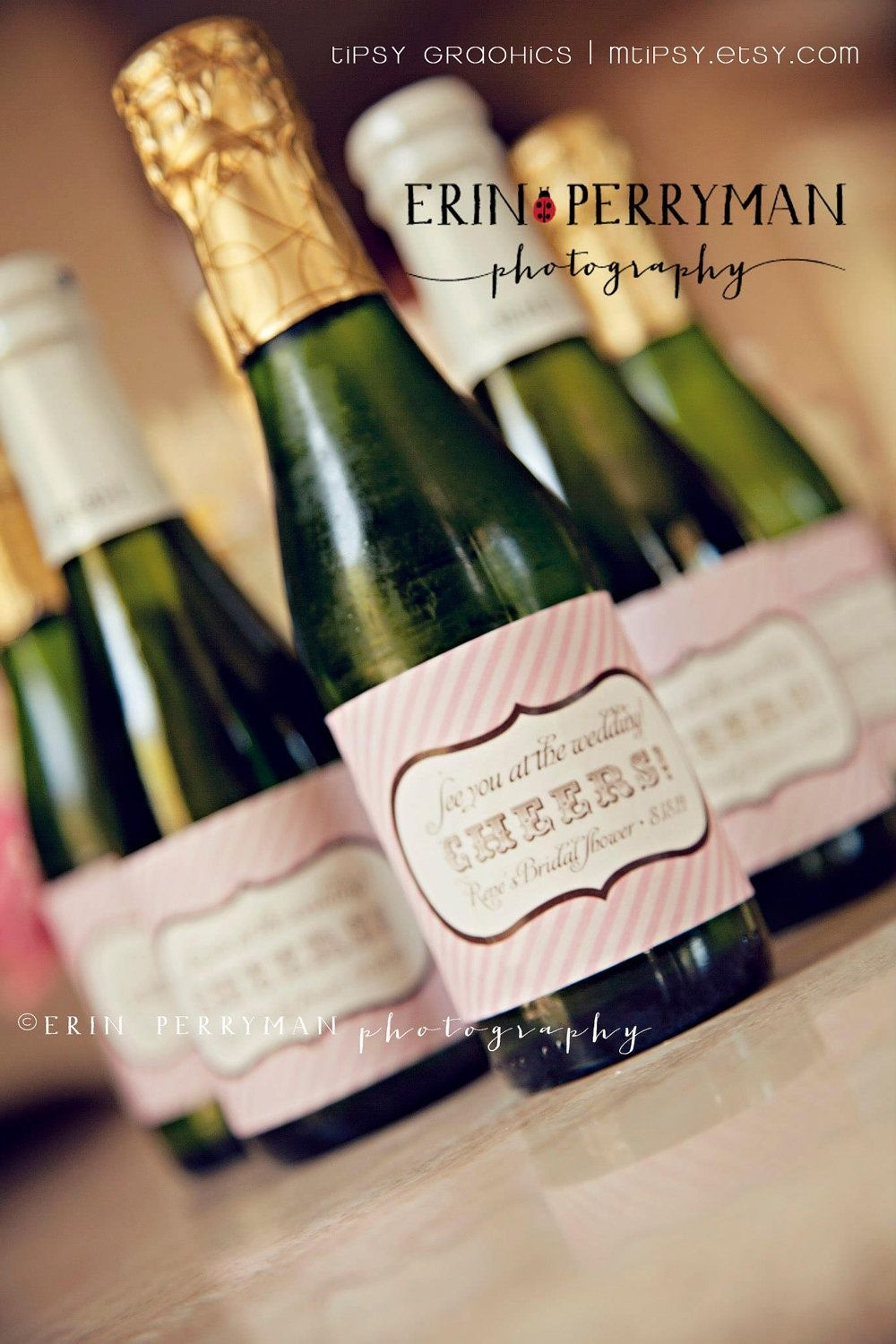 Personalized Printable Champagne Label Sticker Design. Cheers - Free Printable Mini Champagne Bottle Labels