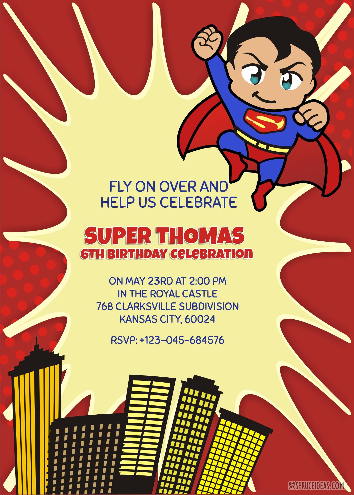Personalized Superhero Superman Birthday Invitation Template - Free Printable Superhero Birthday Invitation Templates
