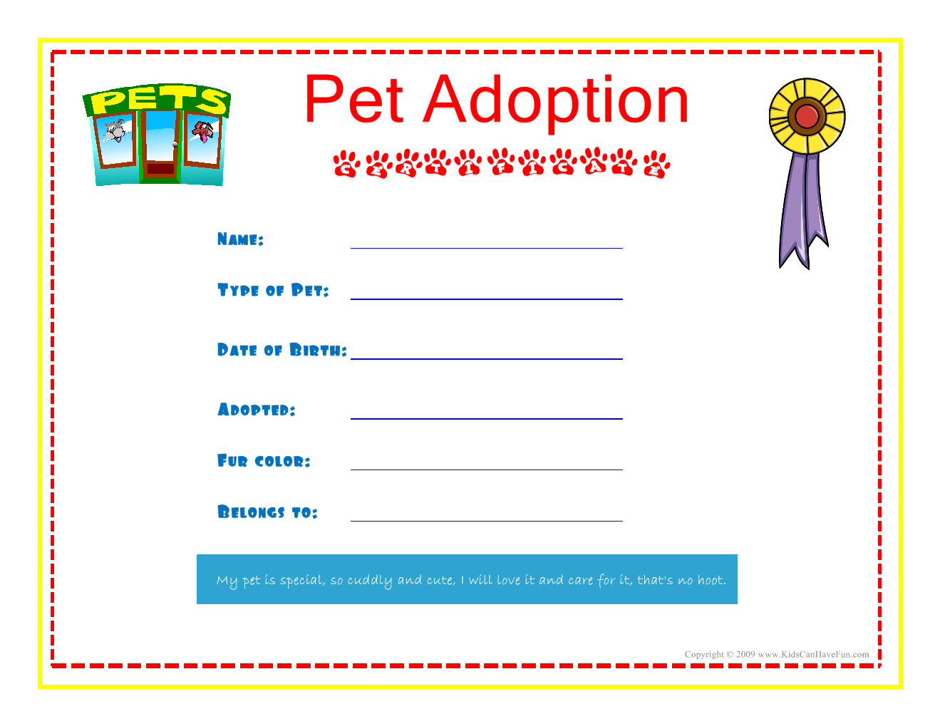 Pet Adoption Certificate For The Kids To Fill Out About Their Pet - Fake Adoption Certificate Free Printable