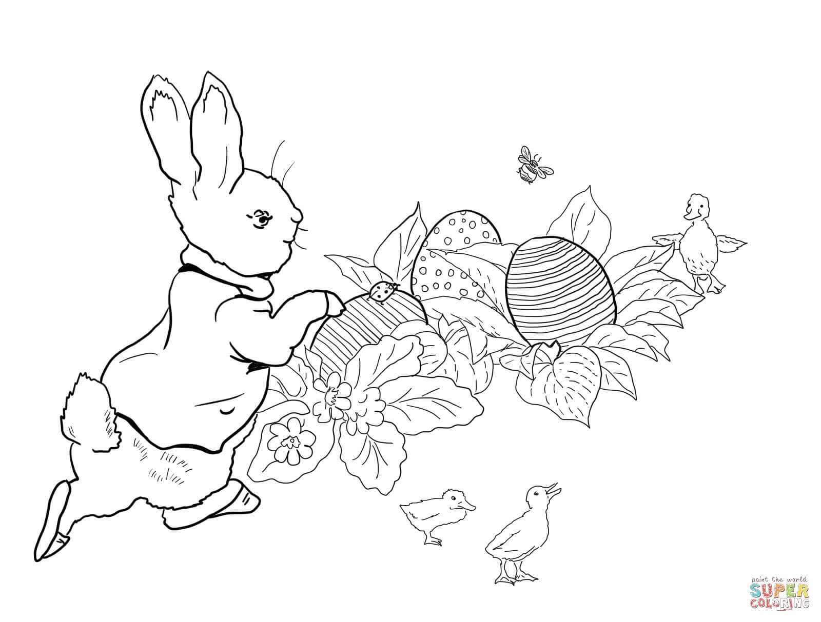 Peter Rabbit Easter Egg Hunt Coloring Page | Free Printable Coloring - Free Printable Peter Rabbit Coloring Pages