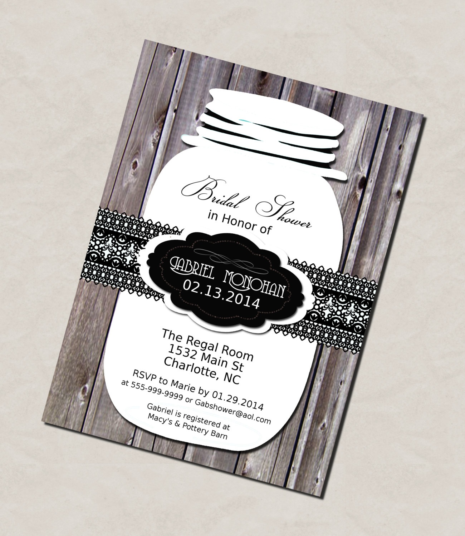 Photo : Do It Yourself Printable Bridal Image - Free Printable Mason Jar Invitation Template