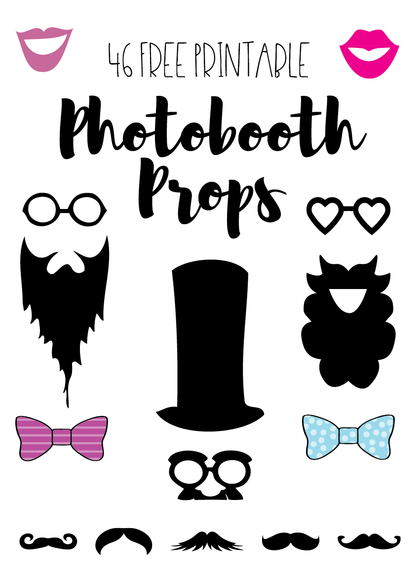 Photobooth Props // Free Download And Tutorial | Silhouette - Free Printable 30Th Birthday Photo Booth Props