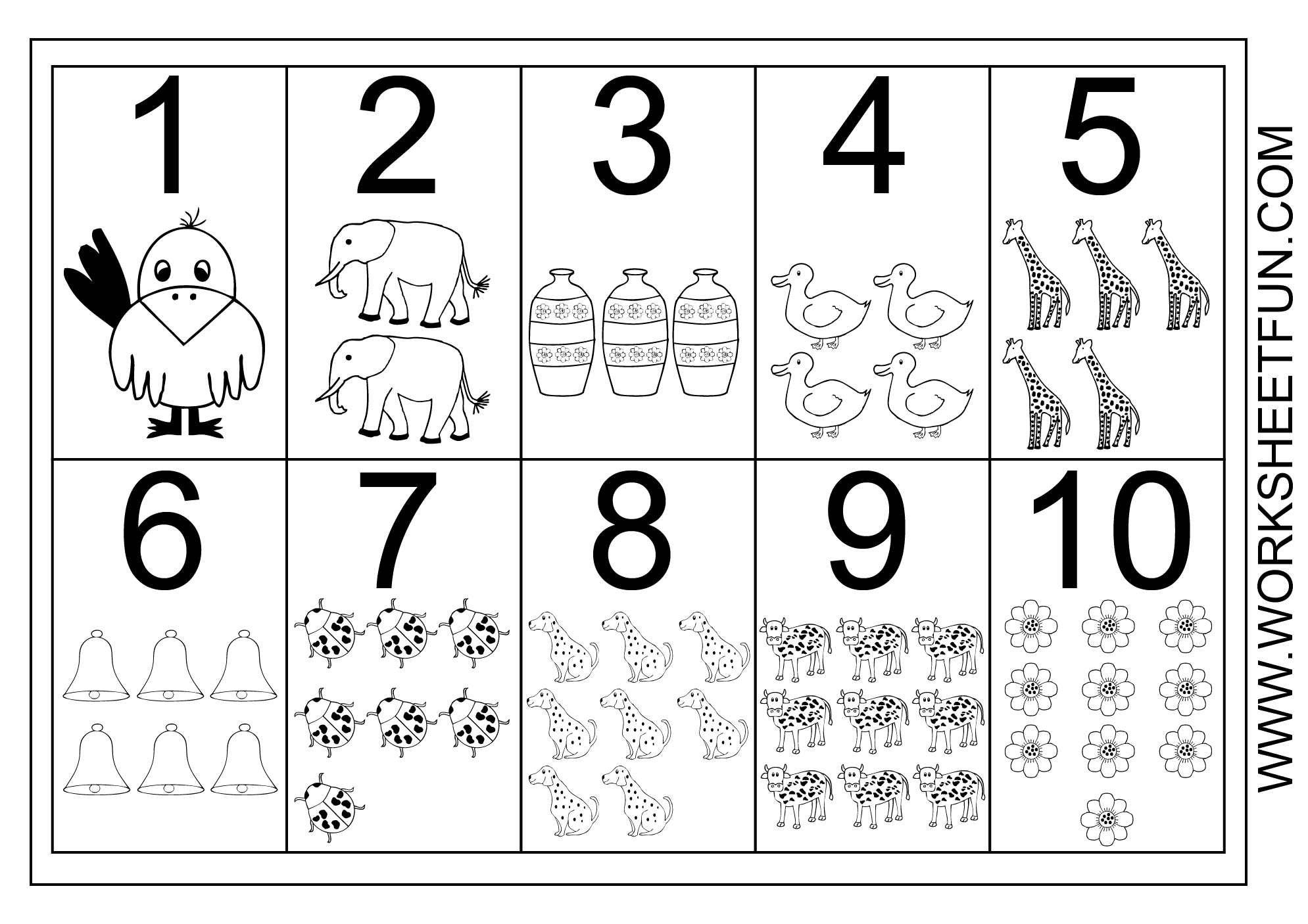 Picture Number Chart 1-10 | Printable Worksheets | Numbers Preschool - Free Printable Number Chart 1 10