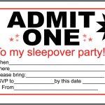 Pictures Of Birthday Invitation Foldables | Free Boys Sleepover   Free Printable Admit One Invitations