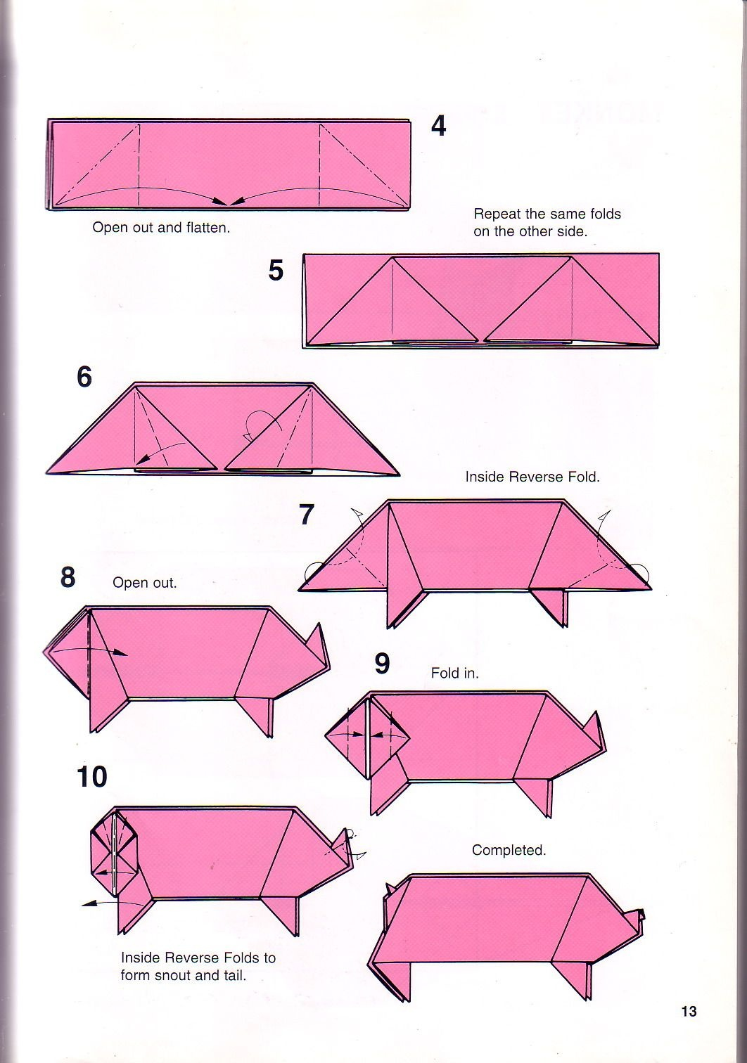 Pig Origami Instructions | Origami Printable Instructions | Origami - Free Easy Origami Instructions Printable