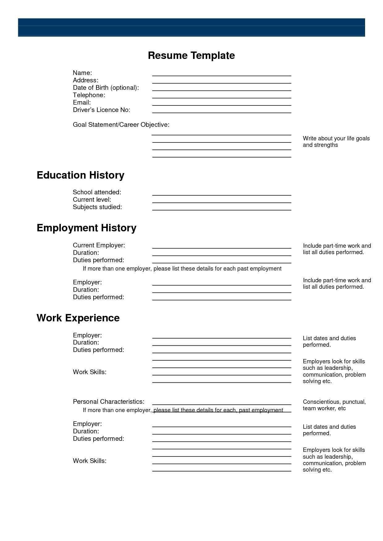 Pinanishfeds On Resumes | Free Printable Resume, Free Printable - Free Online Printable Resume Forms