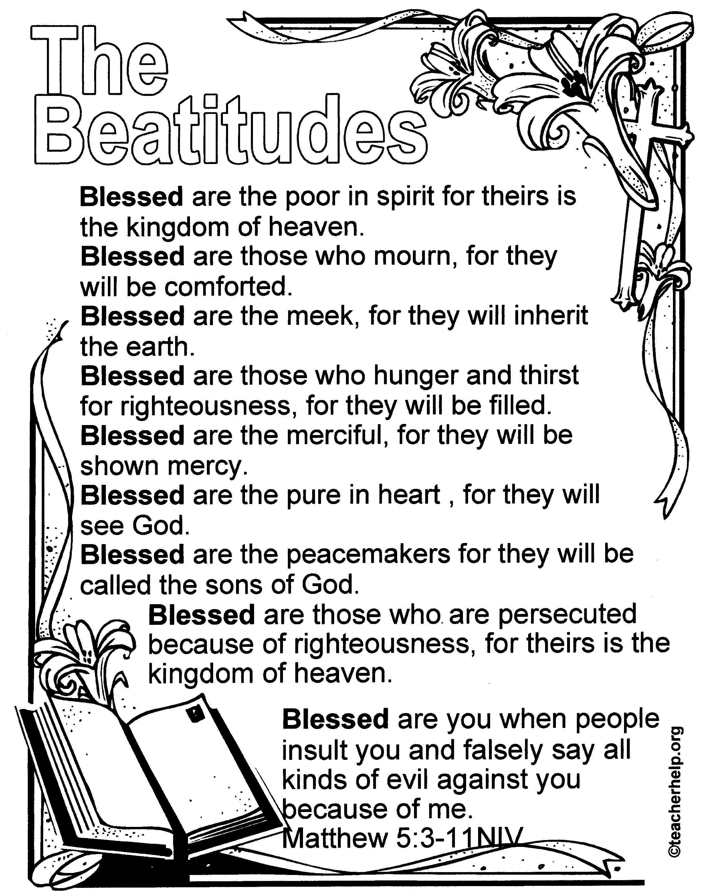 Pinaudrey Smith On Bible Verse Printables | Beatitudes For Kids - Free Printable Kjv Bible Study Lessons
