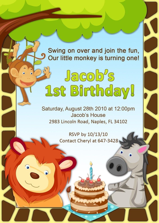Pinbrendamae Estorba On Birthday Party Ideas | First Birthday - Jungle Theme Birthday Invitations Free Printable