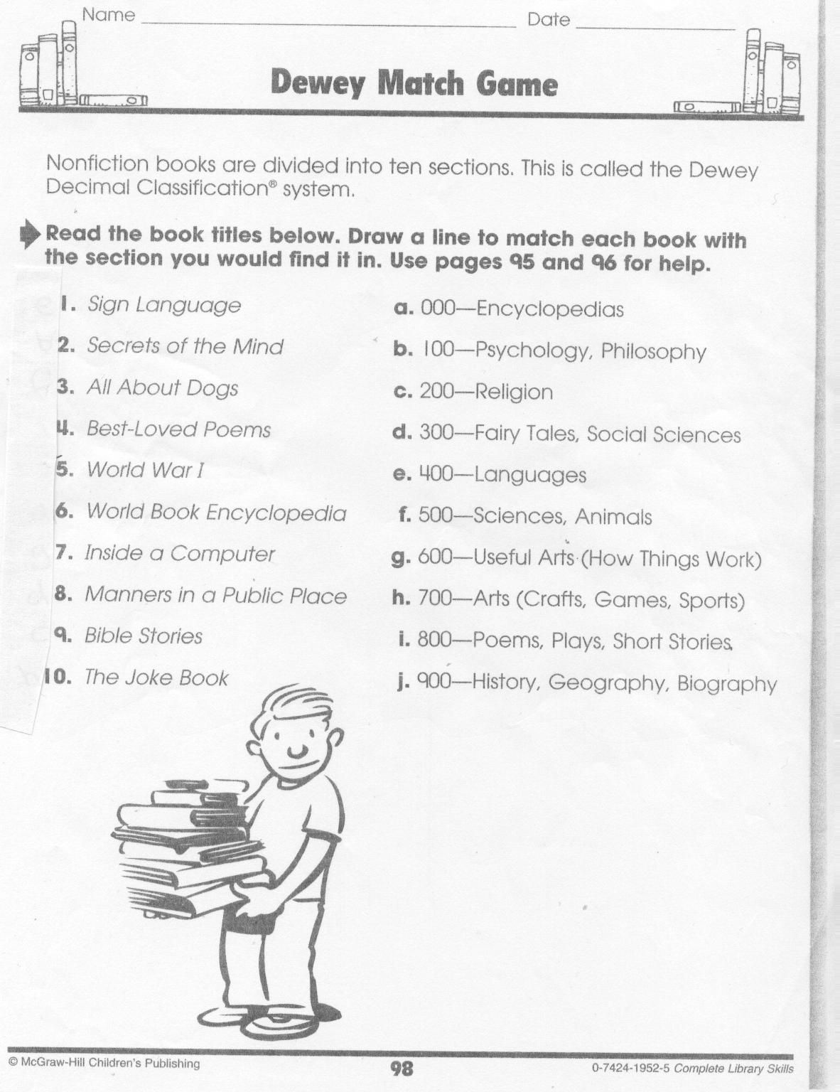 Pincindy On Library Skills   Library Skills, Decimals Worksheets - Free Printable Library Skills Worksheets