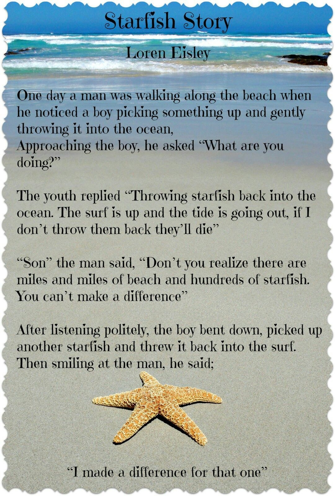 Pinclaire Neary-Wishart On Fav Quotes   Starfish Story, Free - Starfish Story Printable Free