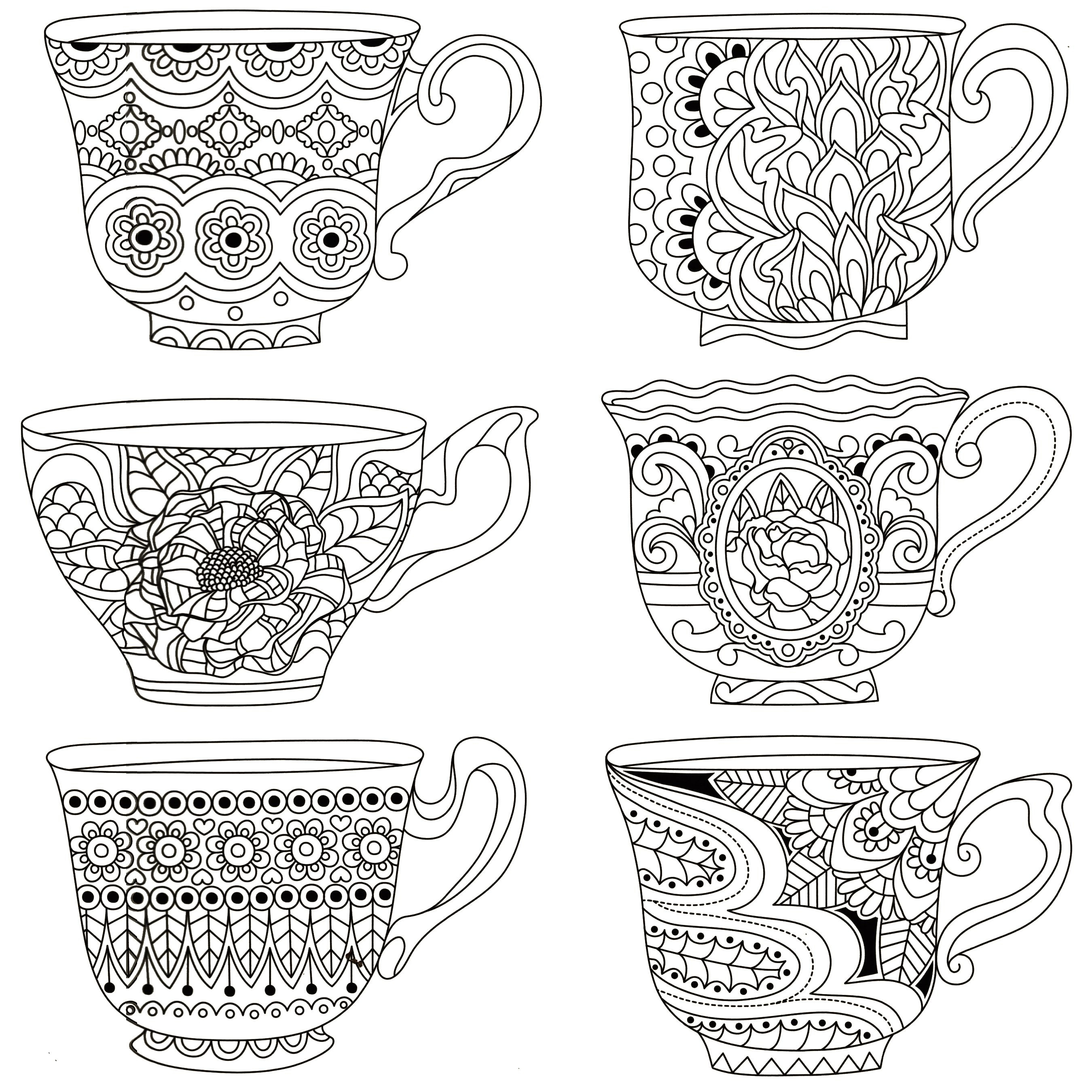 Pindeb Sherman On Coloring | Dover Coloring Pages, Free Adult - Free Printable Tea Cup Coloring Pages