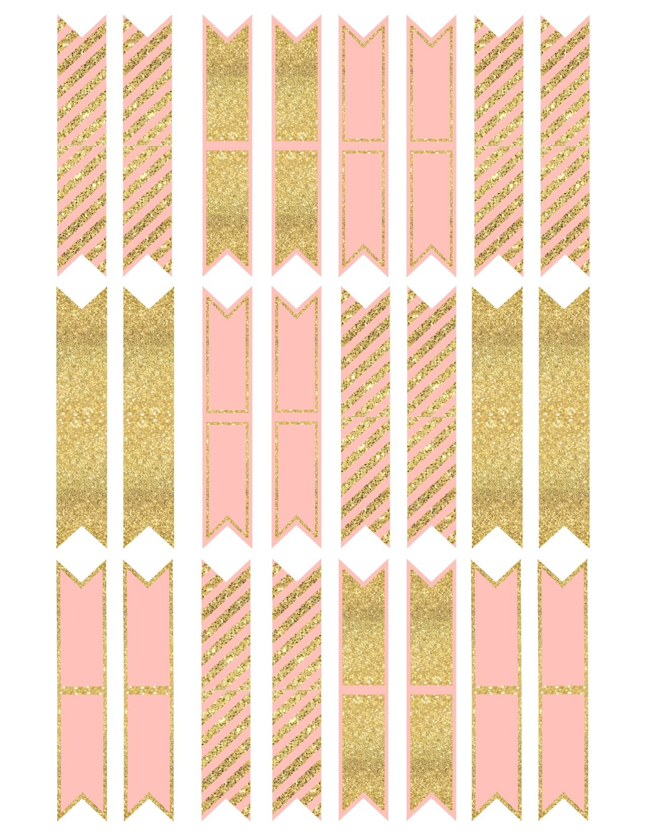 Pink And Gold Cupcake Topper Flags Or Bunting | Arts And Crafts - Cupcake Flags Printable Free