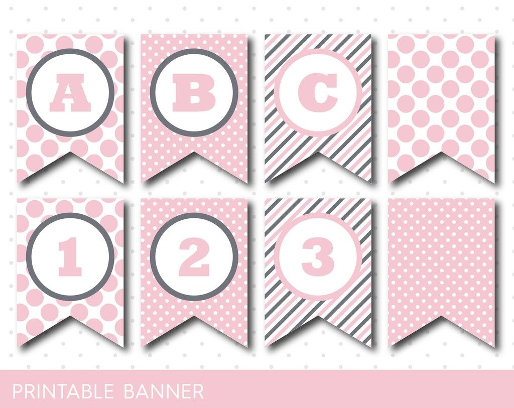 Pink Banner, Party Banner, Birthday Banner, Baby Shower Banner - Free Printable Pink Banner