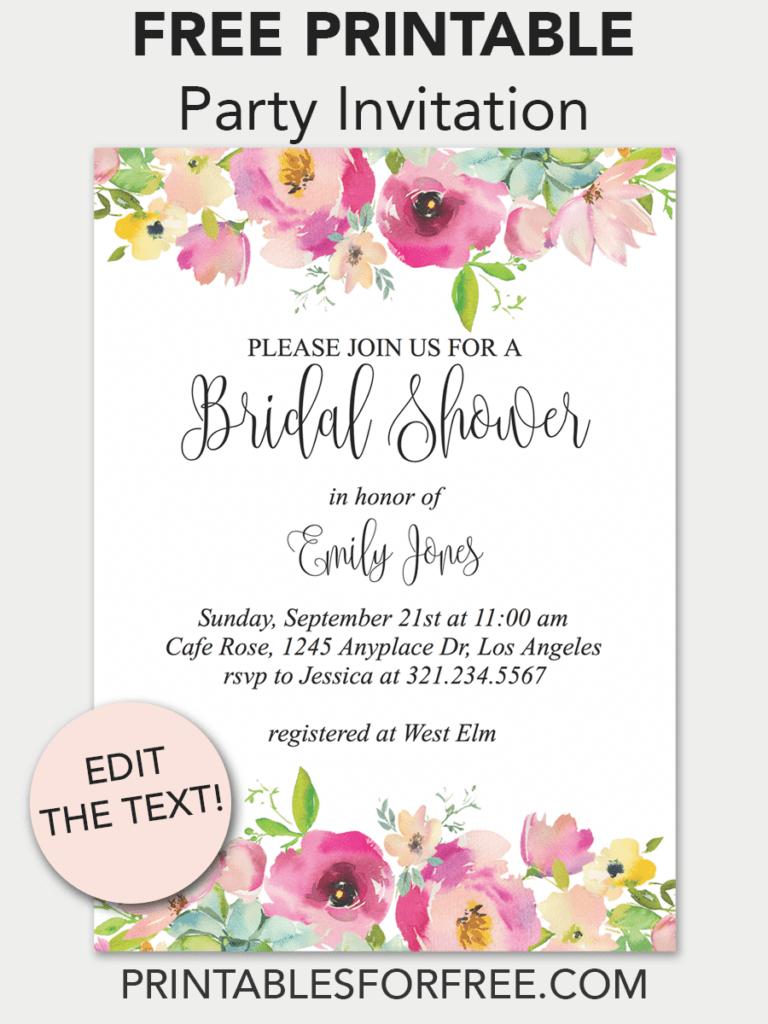 Pink Floral Printable Bridal Shower Invitation | Invitations - Free - Free Printable Event Invitations