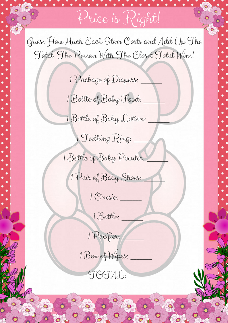 Pink Printable Price Is Right Baby Shower Game - Free Printable Price Is Right Baby Shower Game