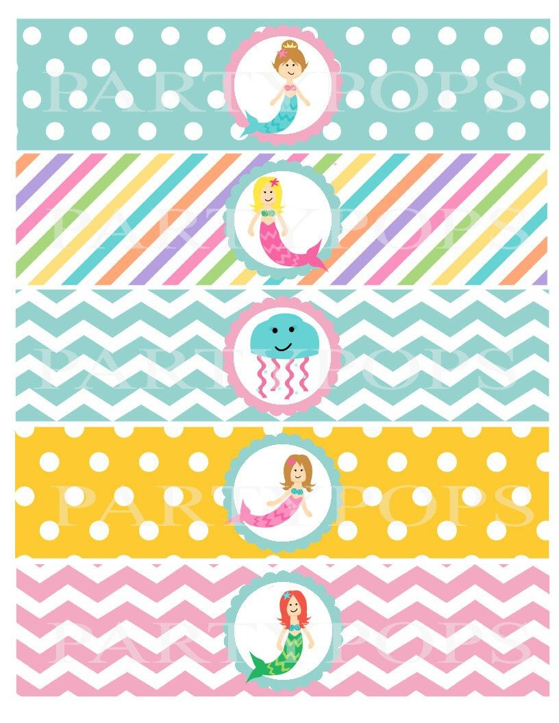 Pinkatheryn Patton On Everly 3Rd Bday In 2019 | Mermaid Party - Free Printable Little Mermaid Water Bottle Labels