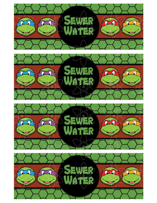 Pinkristie Depew On Kole's Birthday | Ninja Turtle Birthday - Free Printable Tmnt Food Labels
