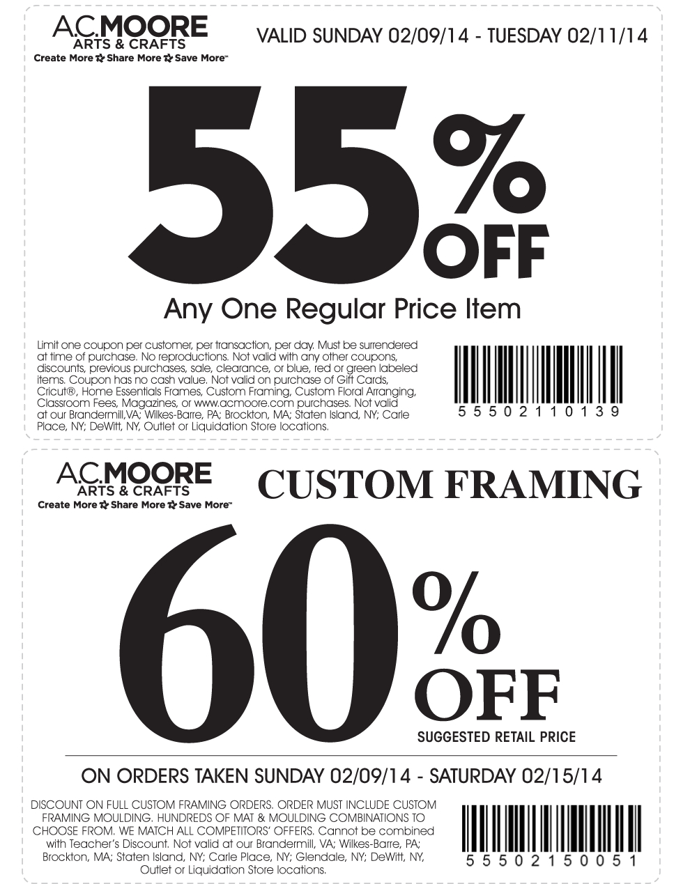 Pinned February 10Th: 55% Off A Single Item At A.#c. Moore #coupon - Free Online Printable Ac Moore Coupons