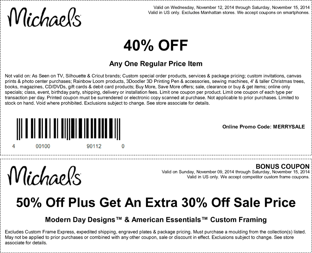 Pinned November 12Th: 40% Off A Single Item At Michaels, Or Online - Free Printable Michaels Coupons