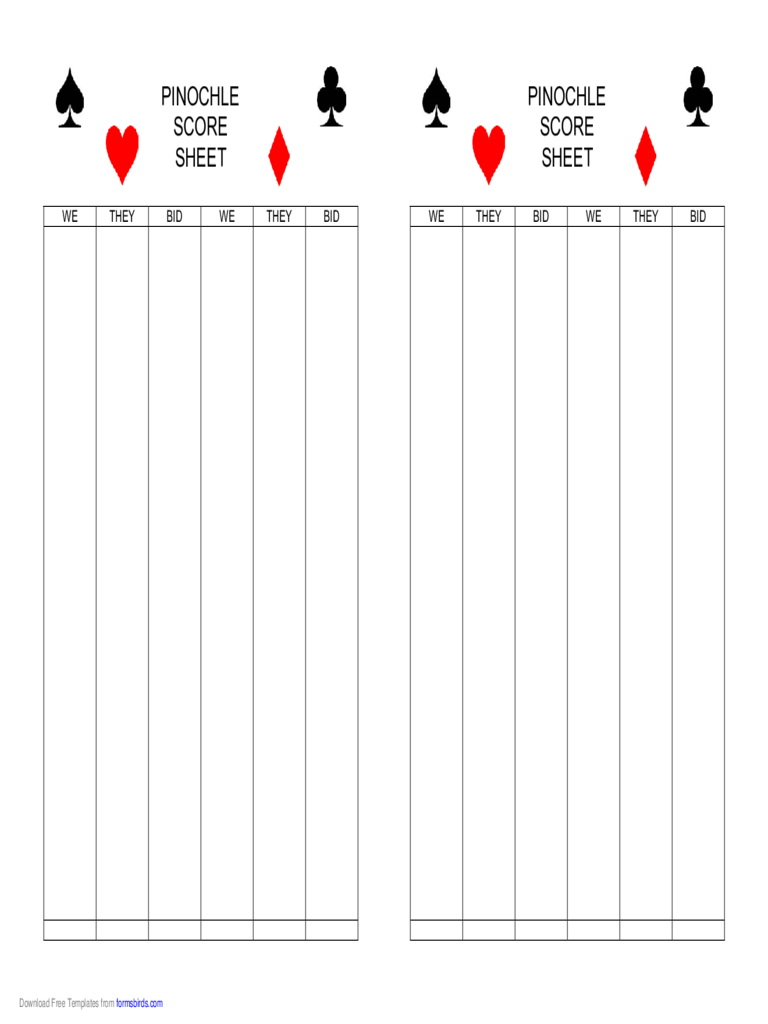 Pinochle Score Sheet - 4 Free Templates In Pdf, Word, Excel Download - Free Printable Pinochle Tallies