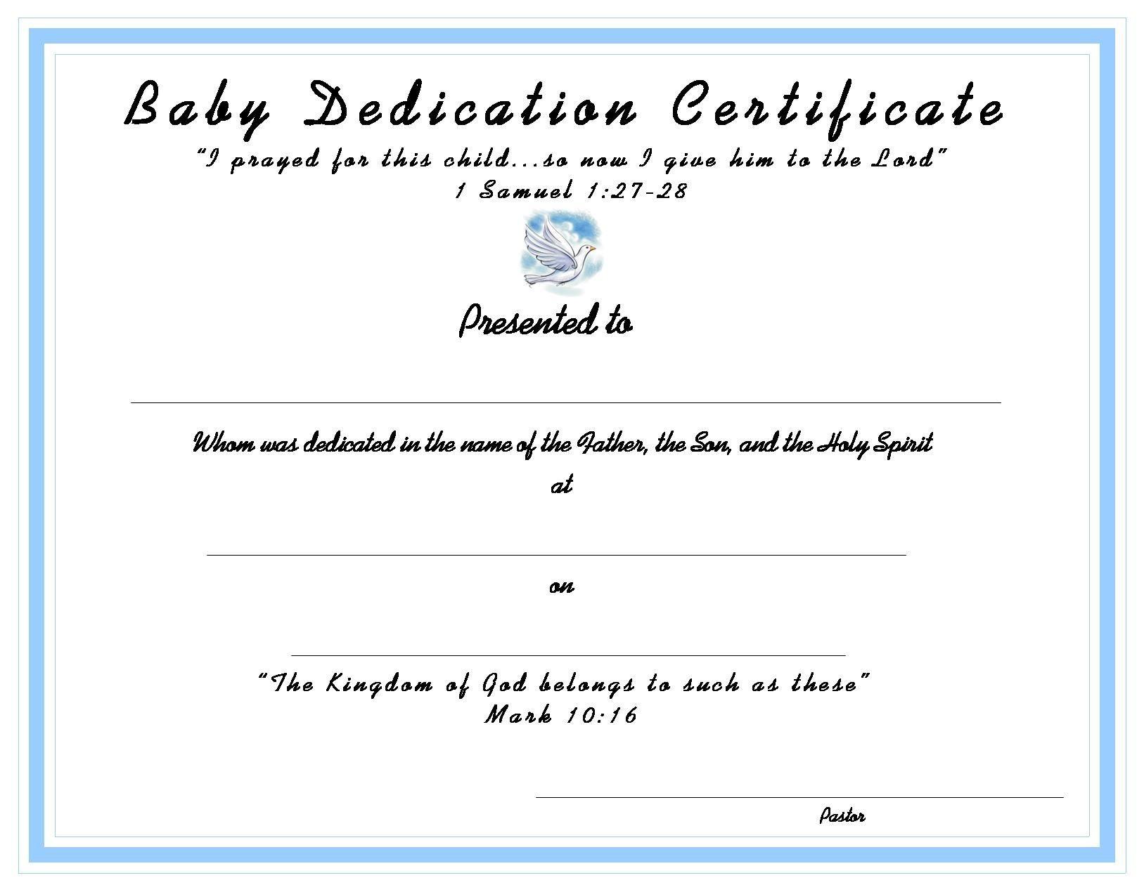 Pinterest - Free Baby Dedication Certificate Printable