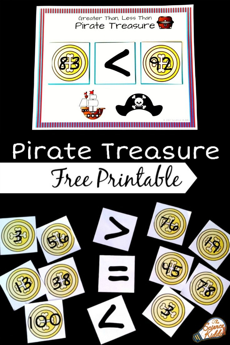 Pirate Treasure Greater Than Less Than Activity • The Science Kiddo - Free Printable Math Centers