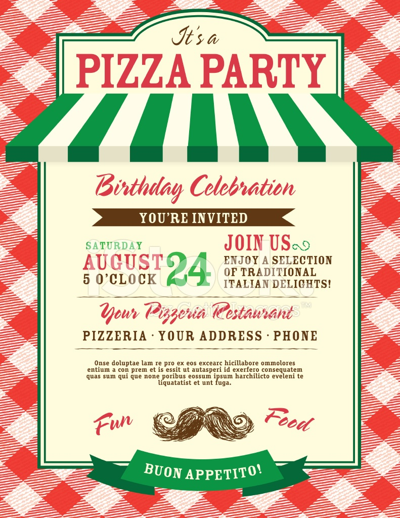 Pizza And Birthday Party Invitation Design Template Stock Vector - Free Printable Italian Party Invitations