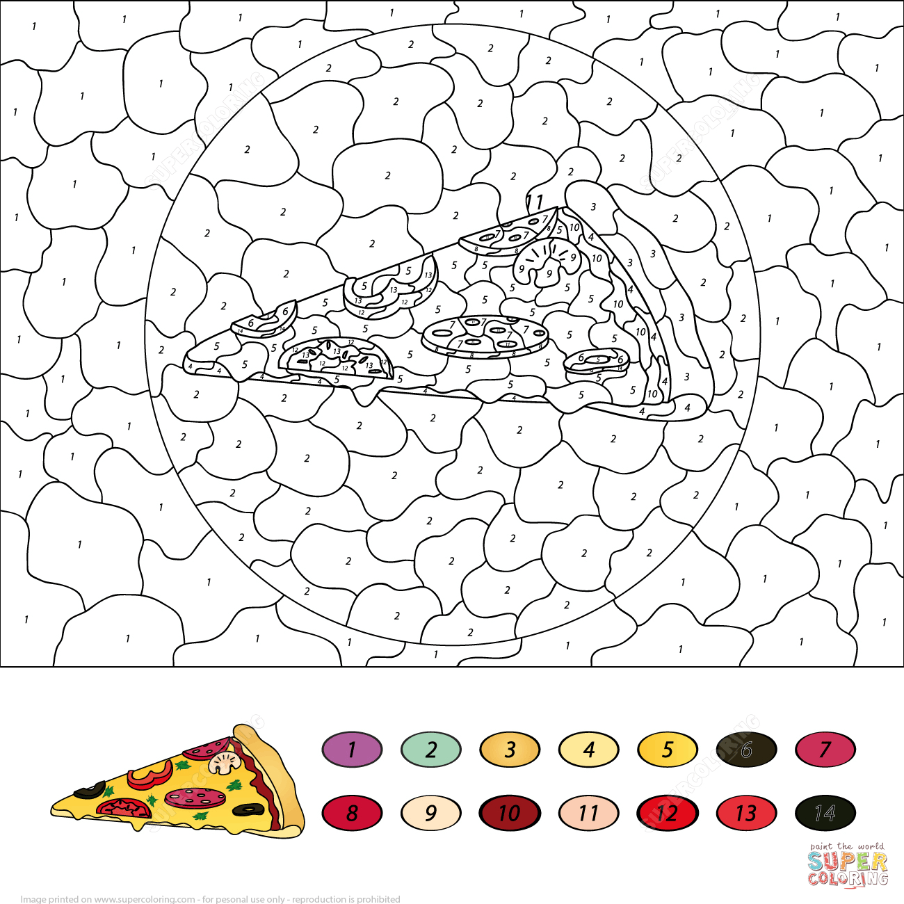 Pizza Colornumber | Free Printable Coloring Pages - Free Printable Color By Number