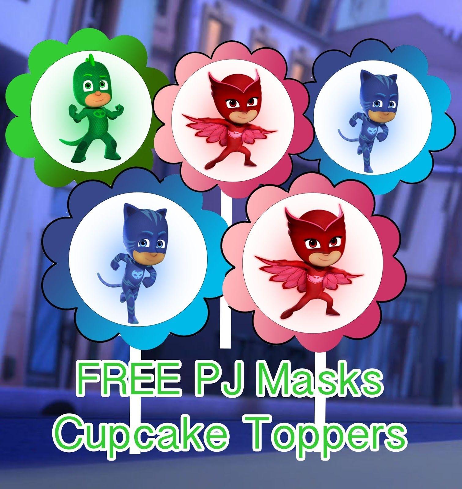 Pj Masks Birthday Party Printable Files Cupcake Toppers | Kids - Pj Mask Free Printables