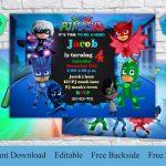 Pj Masks Invitation Free Thank You Card & Backside Pj Masks | Etsy   Free Printable Pj Masks Invitations