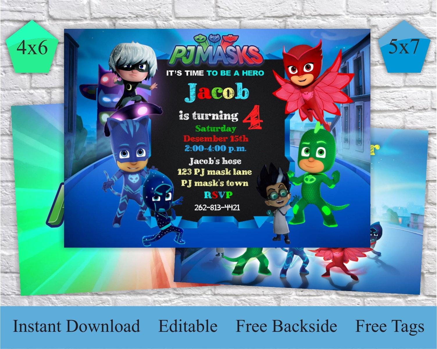 Pj Masks Invitation Free Thank You Card & Backside Pj Masks | Etsy - Free Printable Pj Masks Invitations
