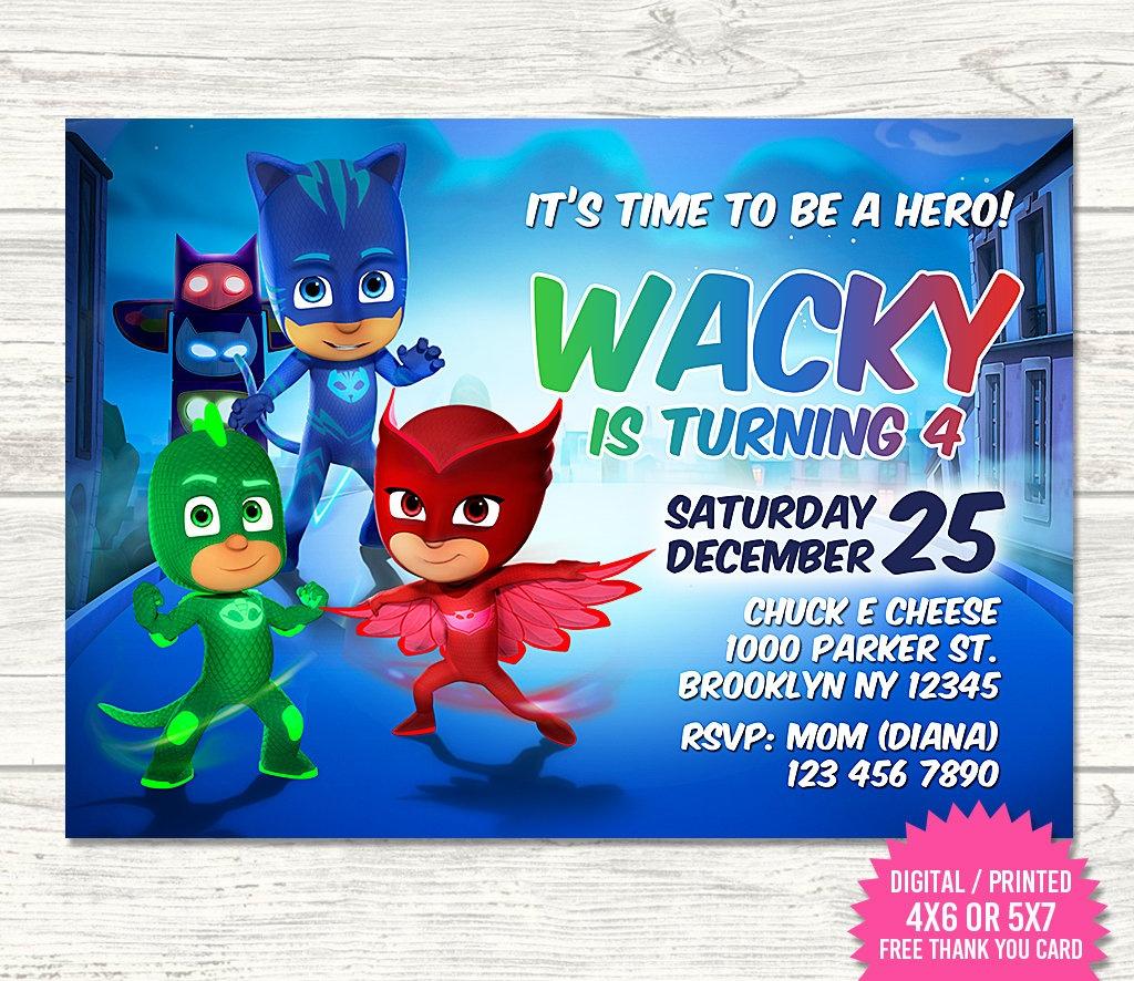 Pj Masks Invitation Pj Masks Birthday Invitation Pj Masks | Etsy - Free Printable Pj Masks Invitations
