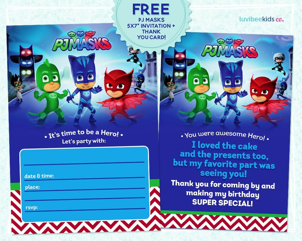 Pj Masks Invitation Printable - Free! - Pj Mask Free Printables