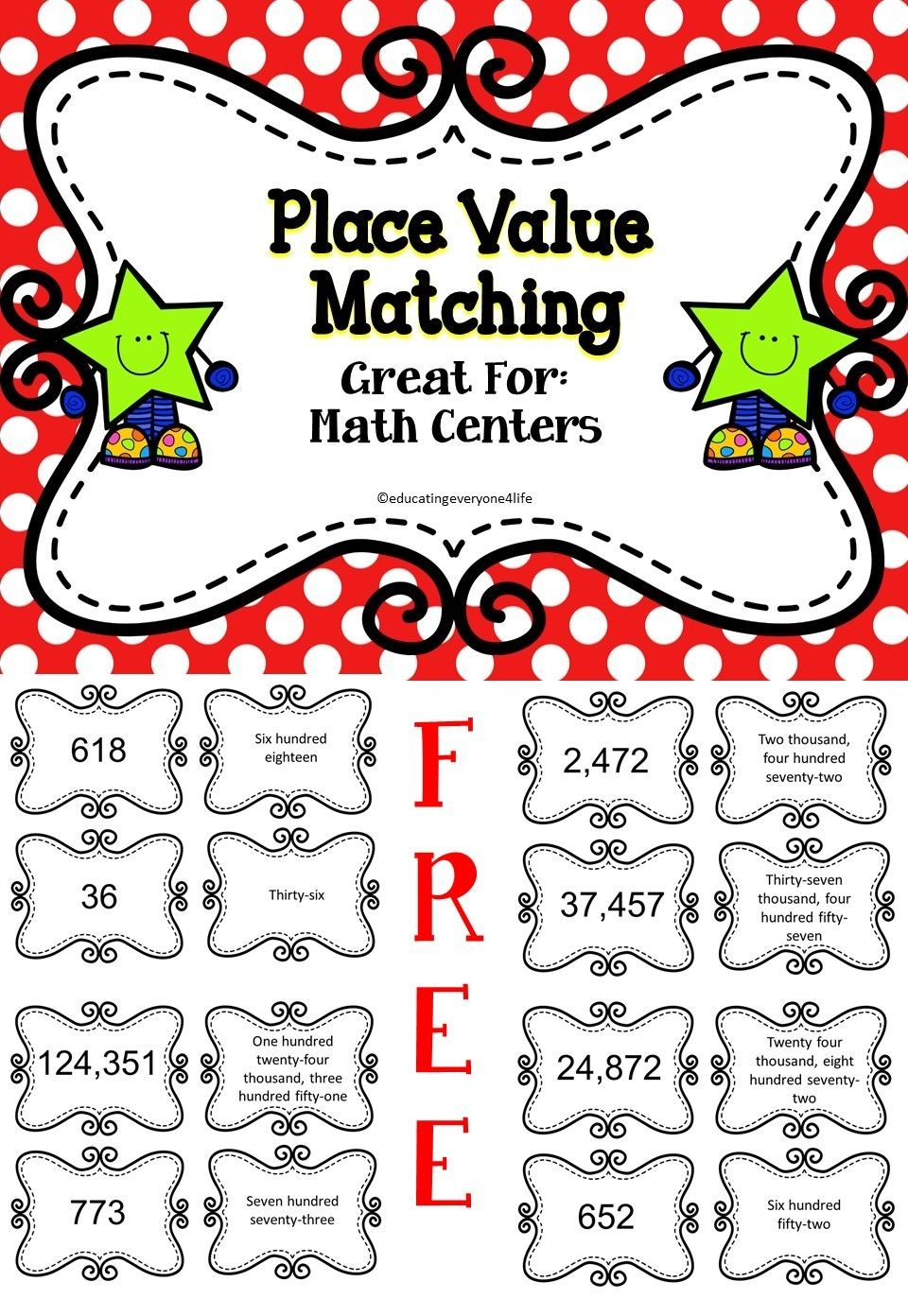 Place Value | Miss Johnson | Math Classroom, Elementary Math, Math - Place Value Game Printable Free