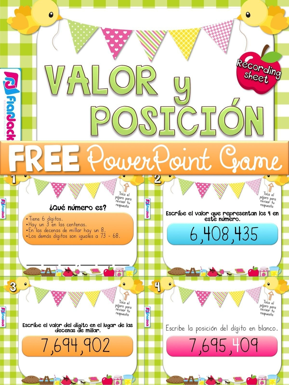 Place Value Picnic Spanish Powerpoint Game Freebie | Spanish - Free Printable Place Value Chart In Spanish