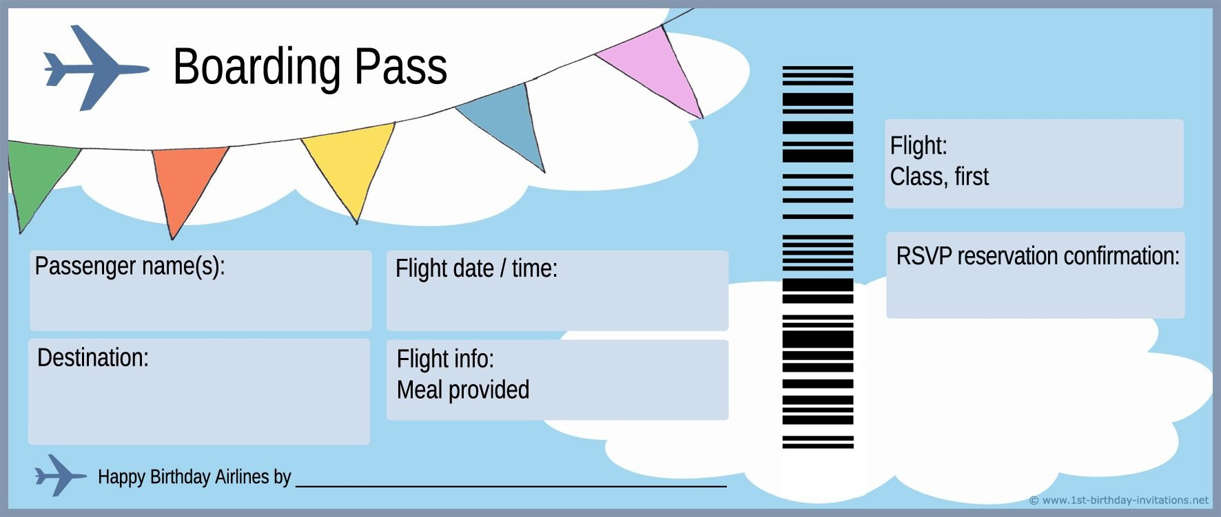 Plane Ticket And Boarding Pass For First Birthday Party Invitation - Free Printable Airline Ticket Template