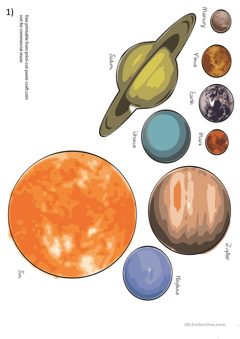 Planets And Solar System Worksheet - Free Esl Printable Worksheets - Free Printable Pictures Of Planets