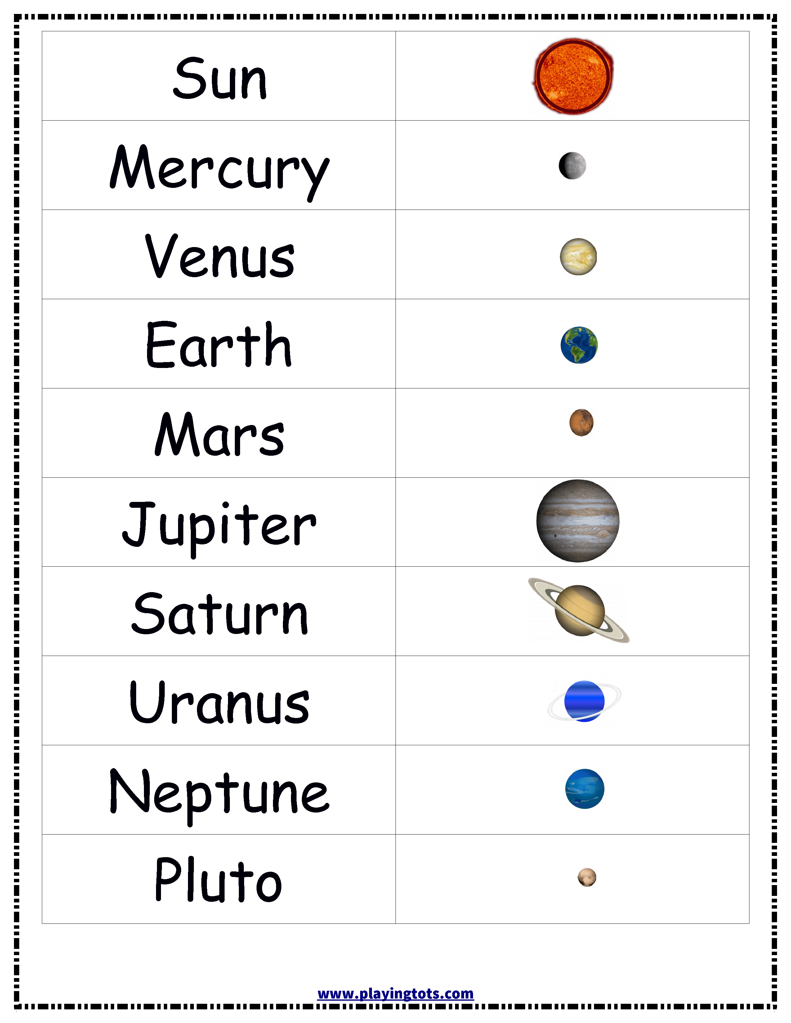 Planets,solar,system,sun,earth,chart,free,printable,toddler - Free Printable Solar System Flashcards