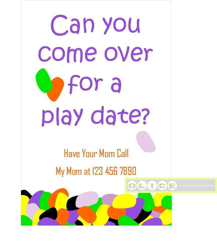 Play Date Card Play Date Invitation Cards School Playdate | Etsy - Play Date Invitations Free Printable
