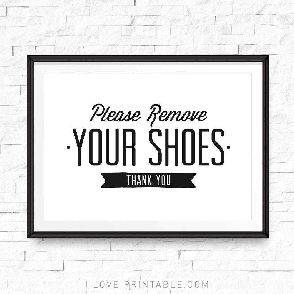 Please Remove Your Shoes Printable Take Shoes Off Sign Shoe | Etsy - Free Printable Remove Your Shoes Sign