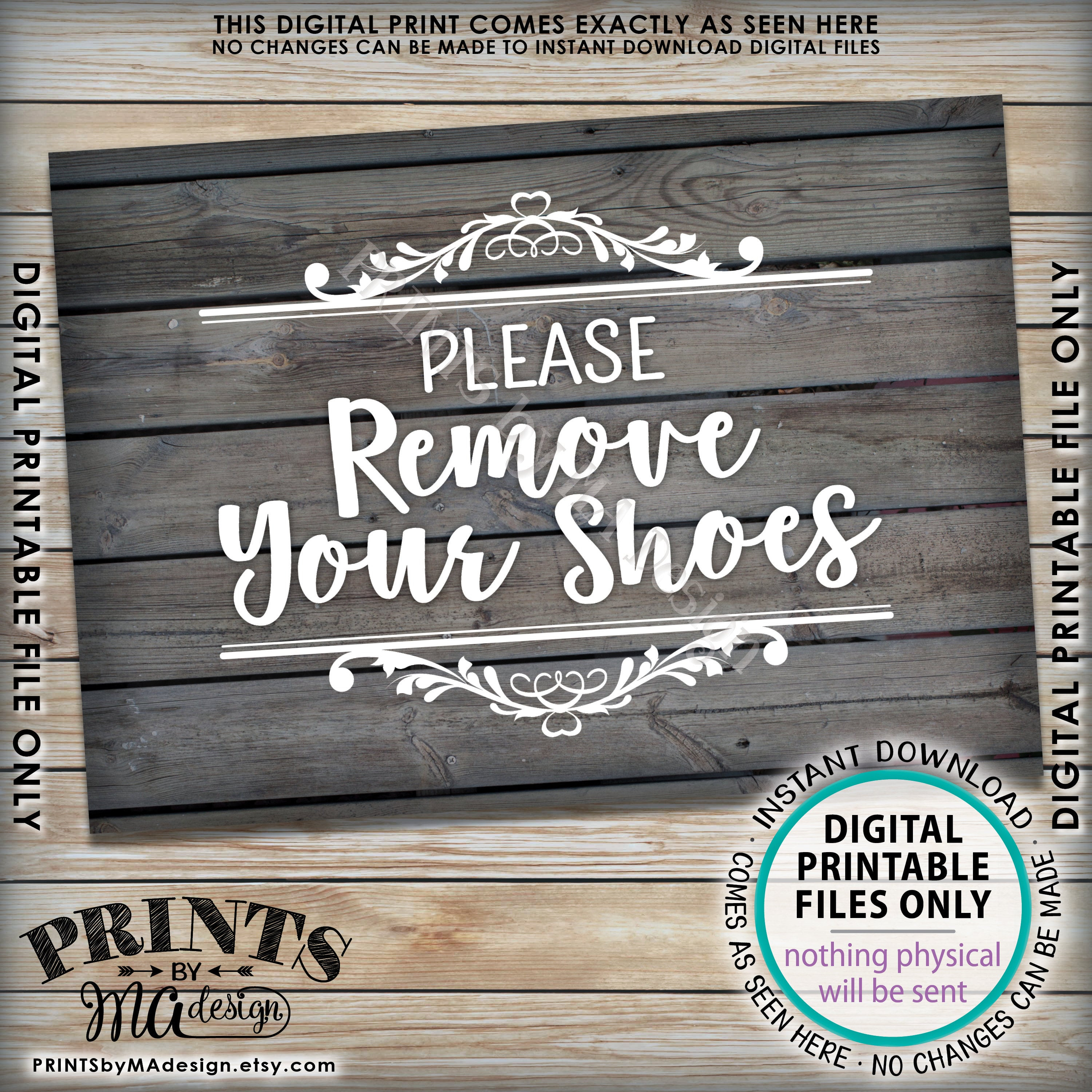 Please Remove Your Shoes Sign, Take Off Your Shoes Sign, Mudroom - Free Printable Remove Your Shoes Sign