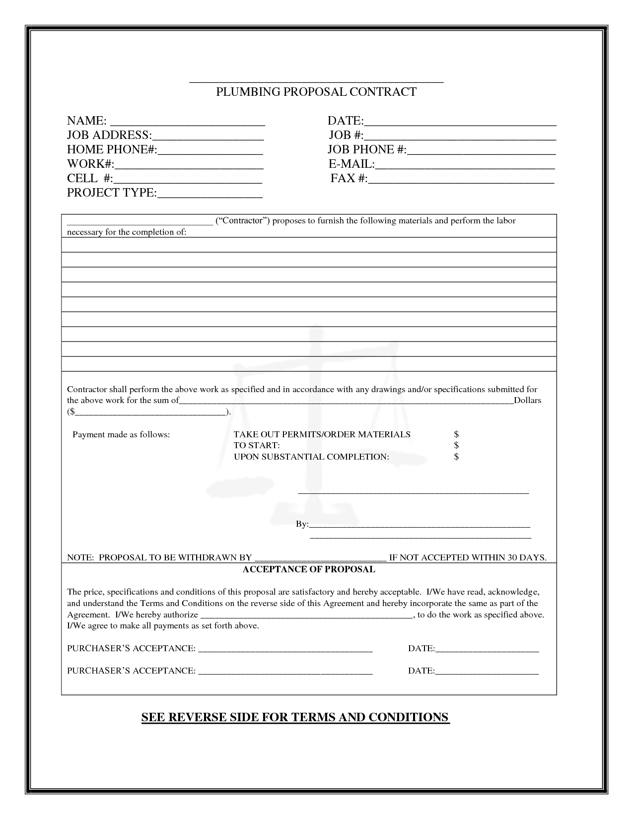 Plumbing Proposal Template Free] - 80 Images - 1000 Images About - Free Printable Proposal Forms
