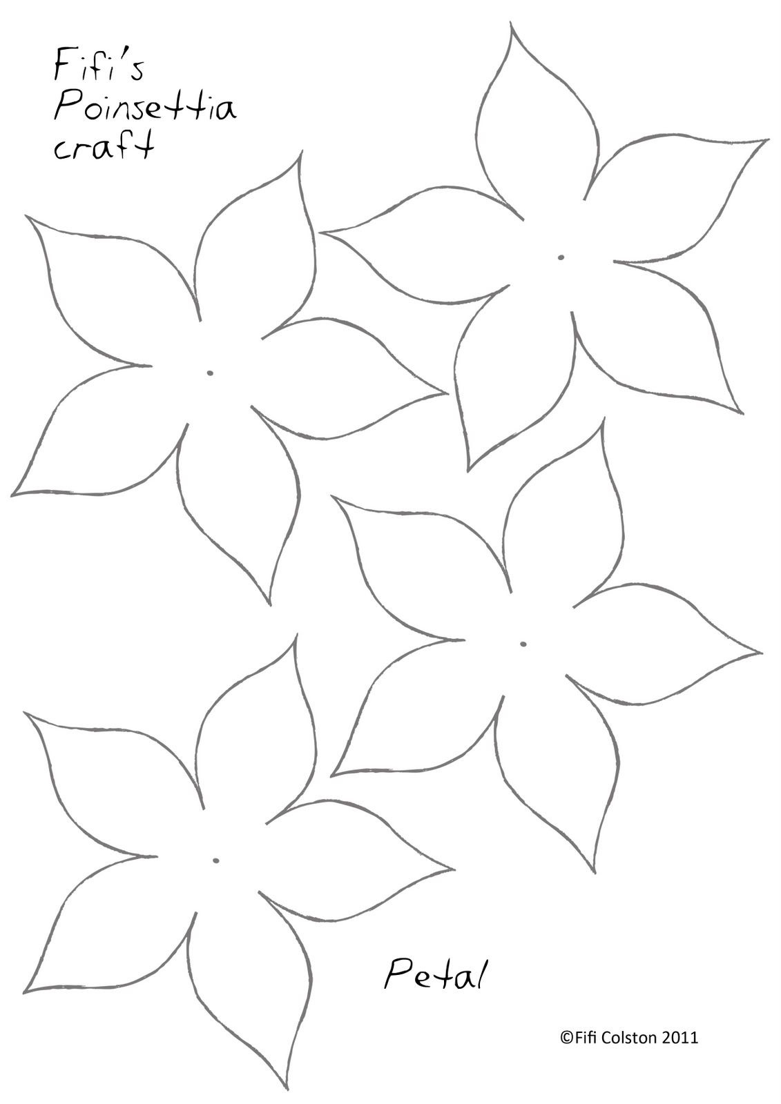 Poinsettia Paper Flower Template … | Paper Flowers | Paper… - 5 Petal Flower Template Free Printable