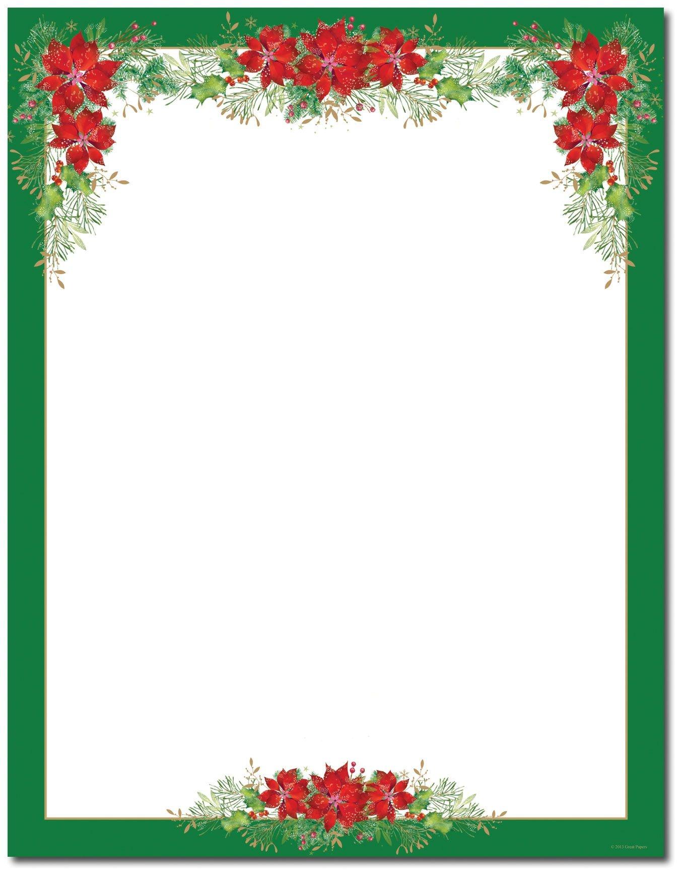 Poinsettia Valance Letterhead   Holiday Papers   Christmas Border - Free Printable Christmas Letterhead