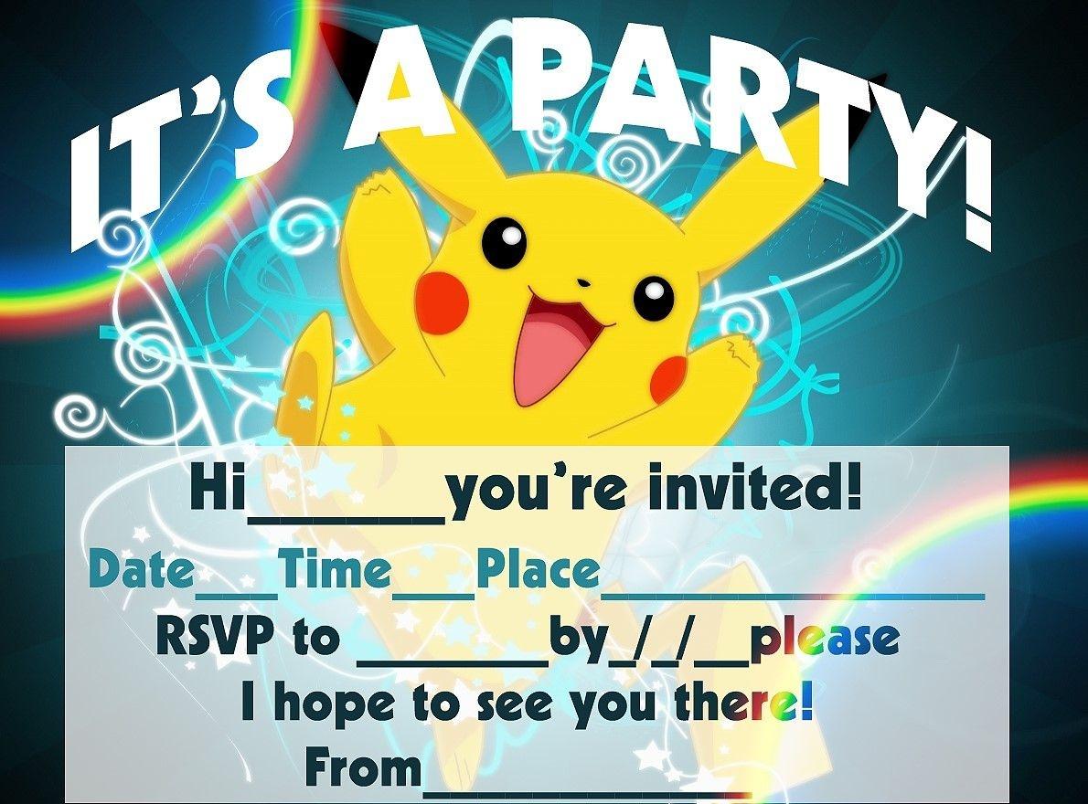 Pokemon Birthday Invitation Templates Free   Pokemon Birthday In - Pokemon Invitations Printable Free
